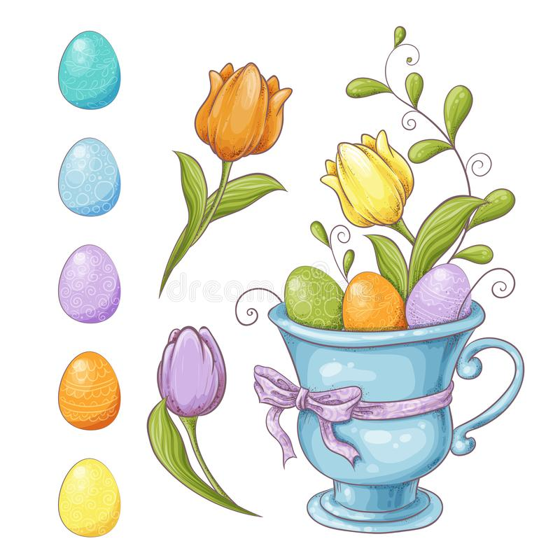 Set of Easter design elements. Eggs, tulips, flowers, willow, branches, basket, tulips, narcissus. Perfect for holiday. Decoration and spring greeting cards royalty free illustration