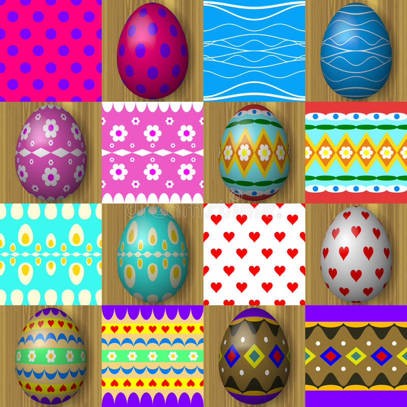 Set Of Easter Egg Seamless Texture Patterns Stock Illustration