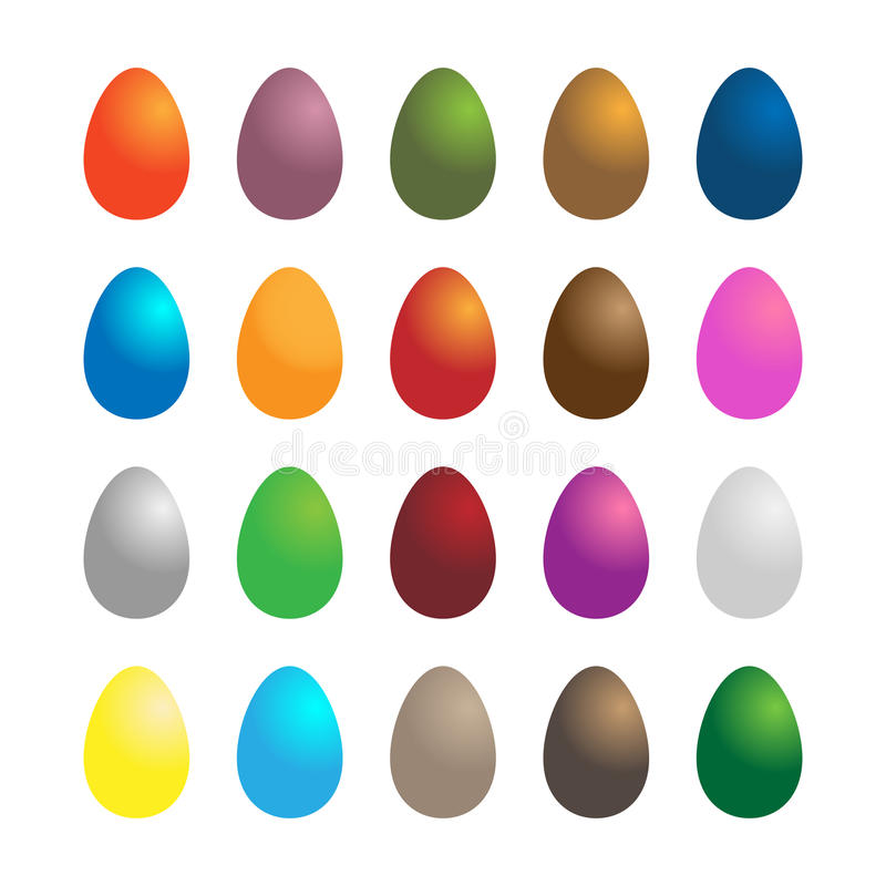 Set of easter eggs. Illustration of a set of twenty colorful easter eggs isolated on white background.EPS file available vector illustration