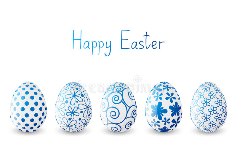 Set of Easter eggs with blue patterns royalty free illustration