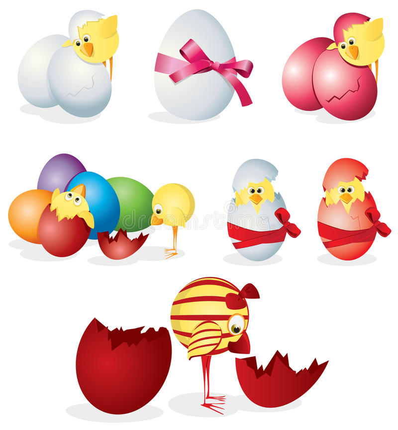 Download Set Of Easter Eggs And Chicks Stock Vector - Illustration of religion, holiday: 18198208