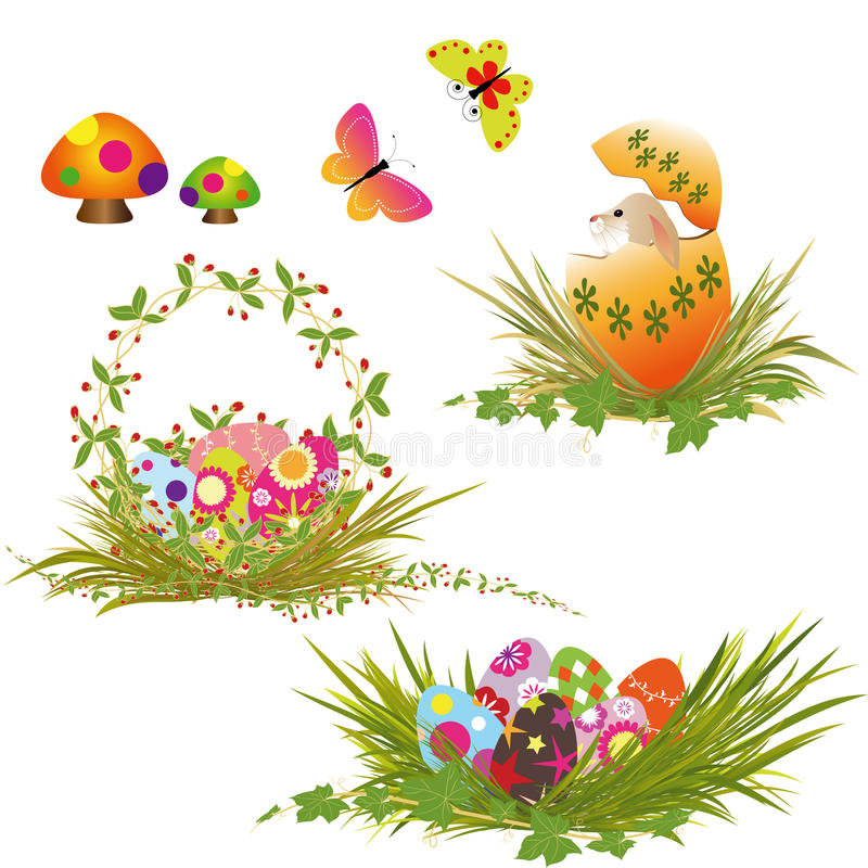 Set of Easter eggs collection. With butterfly, rabbit, Easter basket vector illustration