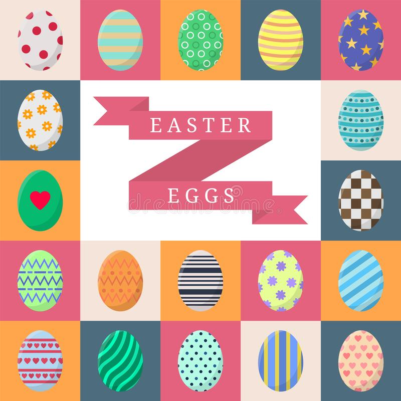 Set of Easter Eggs. Colorful Eggs with Stripes, Dots, Hearts and Patterns in White, Pink, Orange and Grey Squares. Vector. stock illustration