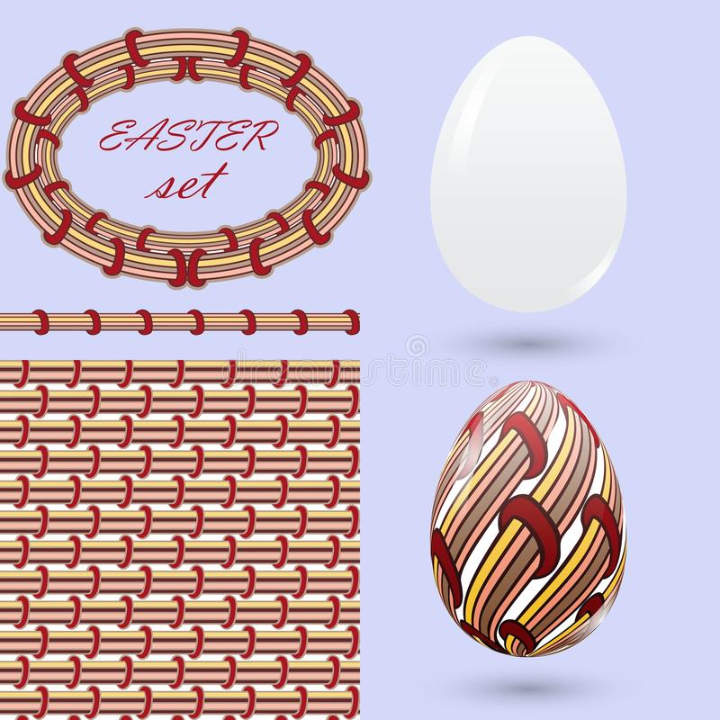 Set with Easter eggs and design elements in the style of zenart. Stylish vintage color Handmade decorations for design announcemen vector illustration