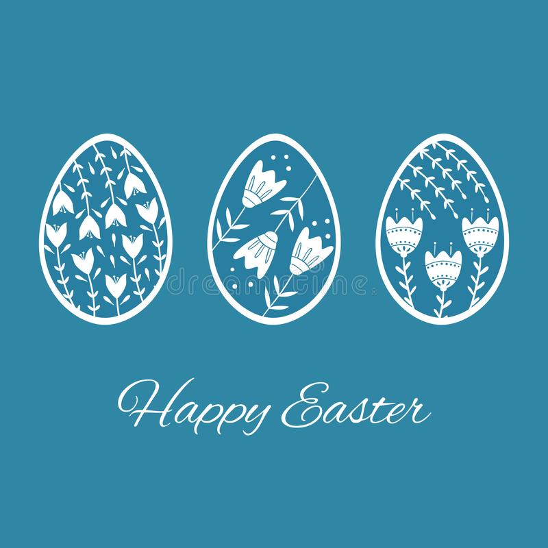 Set of Easter eggs with floral and plant ornamental. Folk style collection, laconic vector graphic Scandinavian style. Blue color. Holiday card celebration royalty free illustration