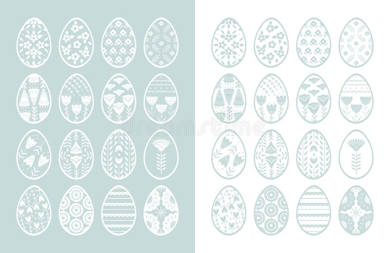 Set of Easter eggs with floral and plant ornamental. Folk style collection, laconic vector graphic Scandinavian style. Pink color. For holiday celebration vector illustration