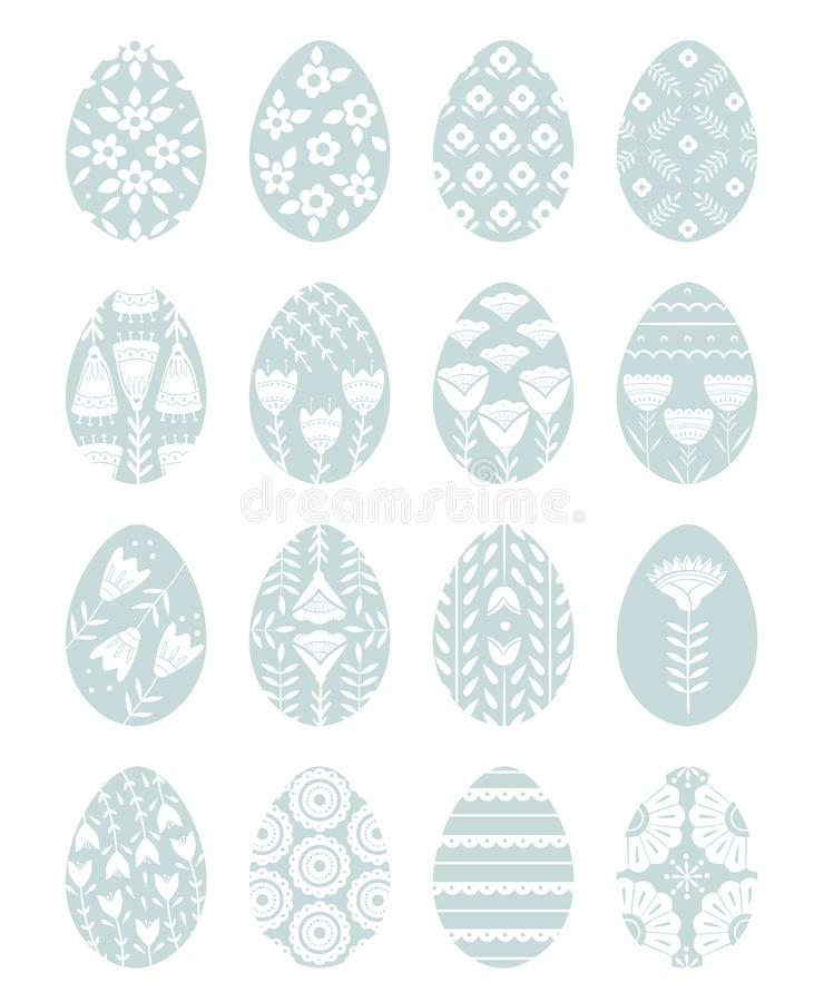 Set of Easter eggs with floral and plant ornamental. Folk style collection, laconic vector graphic Scandinavian style. Blue color. For holiday celebration stock illustration