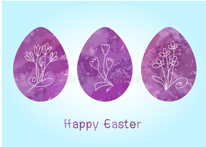 Set of Easter eggs with flowers inside, purple violet colour on a blue background.Spring holiday royalty free illustration