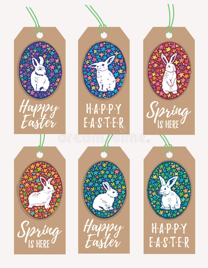 Set of easter gift tags with bunny rabbit silhouette stock vector download set of easter gift tags with bunny rabbit silhouette stock vector illustration of decorative negle Gallery