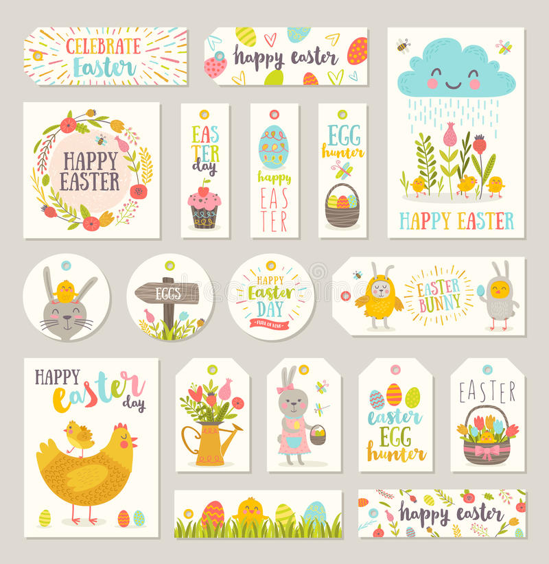 Set of easter gift tags and labels stock vector illustration of set of easter gift tags and labels with cute cartoon characters and type design easter greetings with bunny chickens eggs and flowers negle Choice Image