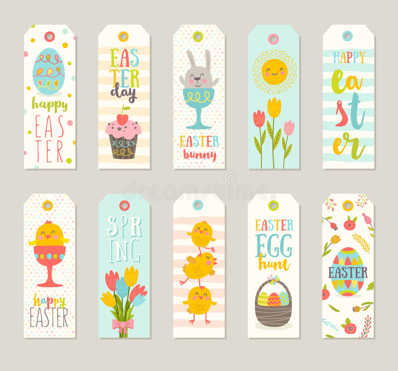 Set of Easter gift tags and labels with cute cartoon characters vector illustration
