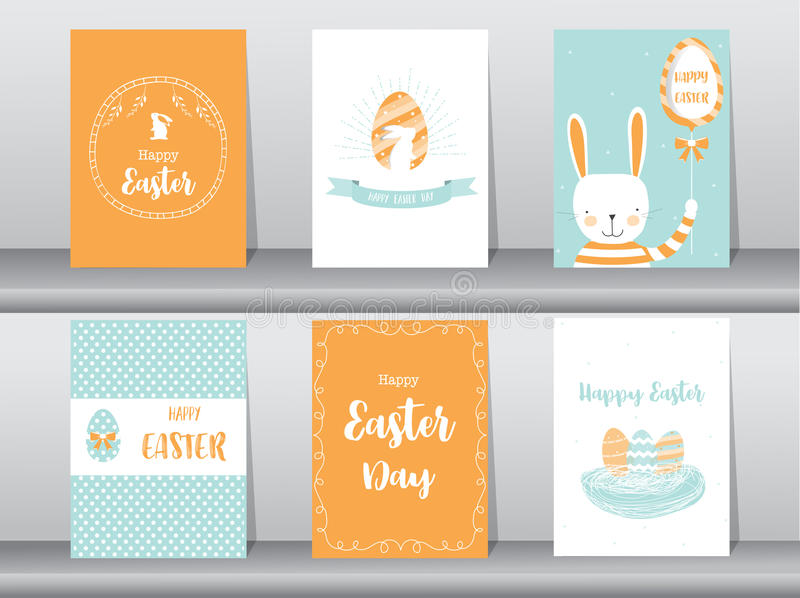 Set of Easter greeting cards,template,rabbits,eggs,Vector illustrations vector illustration