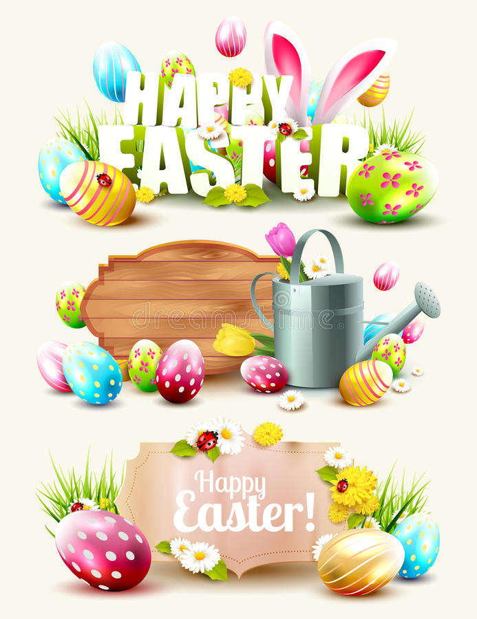 Set of Easter headers and banners royalty free illustration