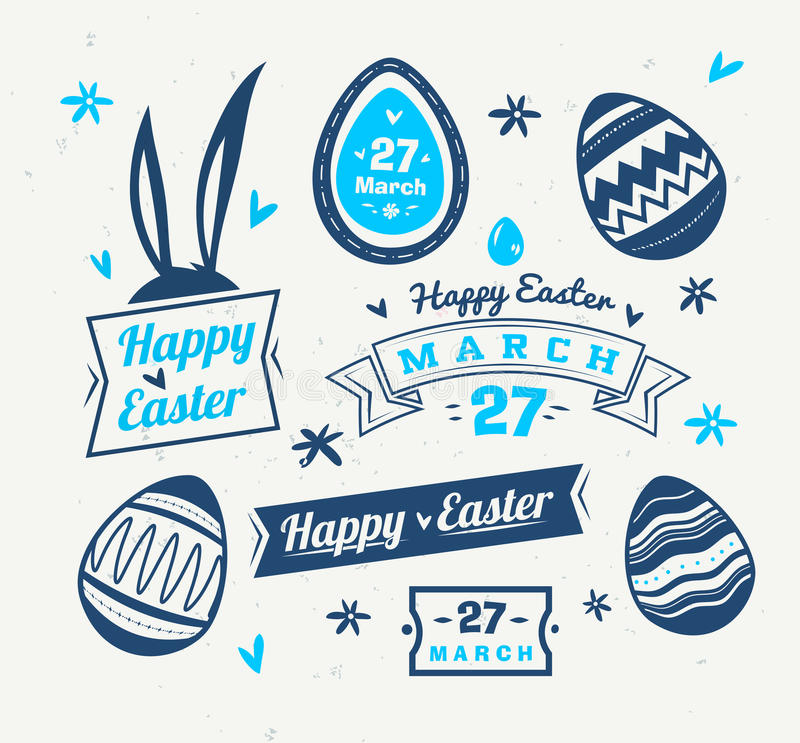 Set of easter logos and labels vector cute illustration stock download set of easter logos and labels vector cute illustration stock vector illustration of m4hsunfo