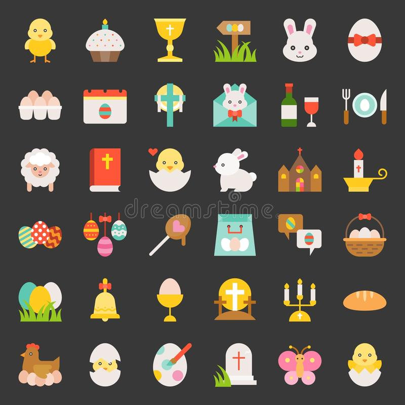 Set Easter, płaska ikona royalty ilustracja