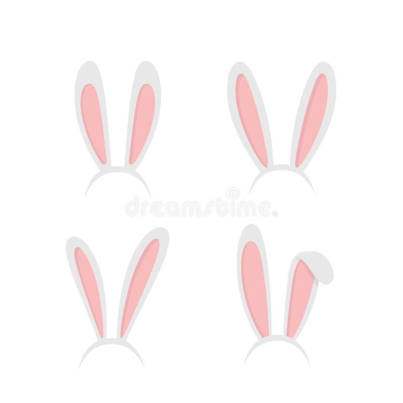 Set easter rabbit, easter bunny ears. Easter masks with rabbit ears isolated on white background - stock vector vector illustration