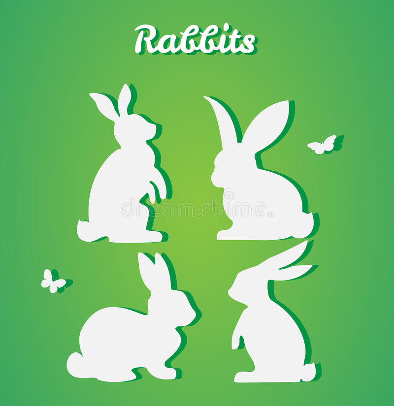 Set of Easter rabbits. Vector silhouette. Paper art and craft st vector illustration