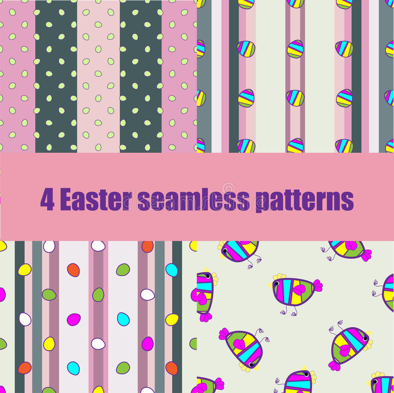 Set Easter seamless pattern with eggs royalty free illustration