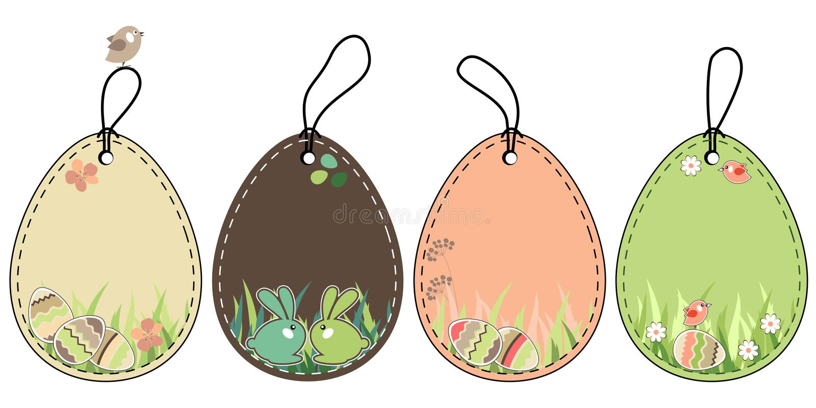 Set of easter tags stock images