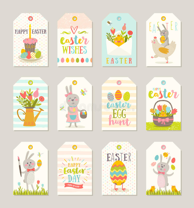 Set of easter tags and labels with cartoon characters and greetings set of easter gift tags and labels with cute cartoon characters and type design easter greetings with bunny chickens eggs and flowers negle Images