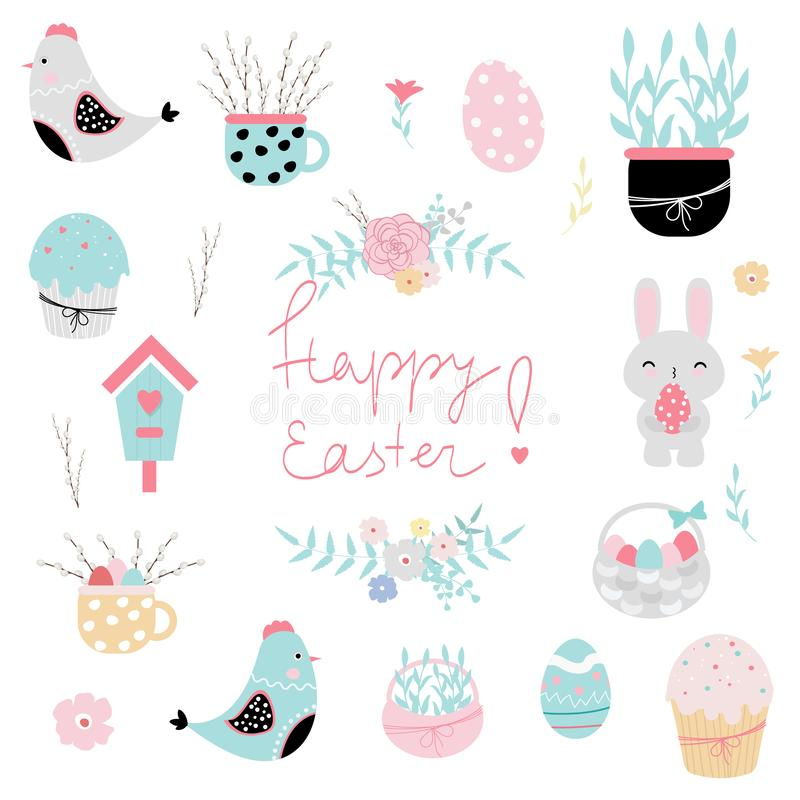 Set of Easter vector elements for scrapbooking, greeting cards, stickers, etc vector illustration