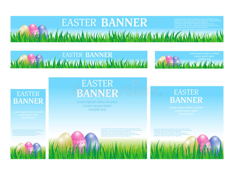 Set Easter web banners templates standard size. Template with eggs, grass and sky. Design for website. Vector vector illustration