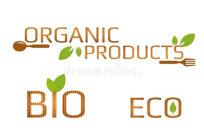 Set eco, życiorys i organicznie produktów znaki z zielonymi liśćmi, brązowić łyżkę i rozwidlenie Drewniani tekstura listy royalty ilustracja