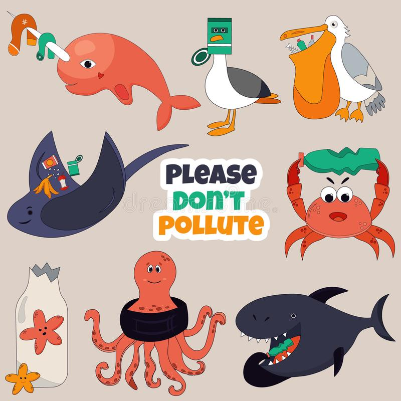 Set of Eco animals. Stop ocean pollution concept royalty free illustration