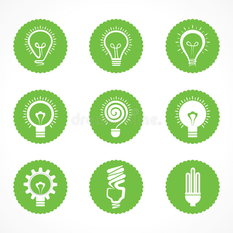 Set of eco electric bulb symbols and icons stock illustration