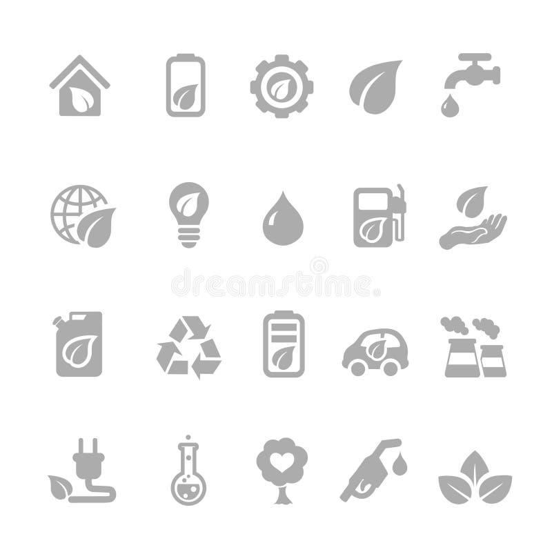 Set eco energetyczne ikony z jądrowym i słonecznym ilustracja wektor