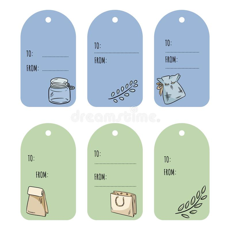 Set with eco friendly doodles gift tags. Ecological and zero-waste labels collection. Go green living. Set with eco friendly doodles gift tags. Ecological and stock illustration