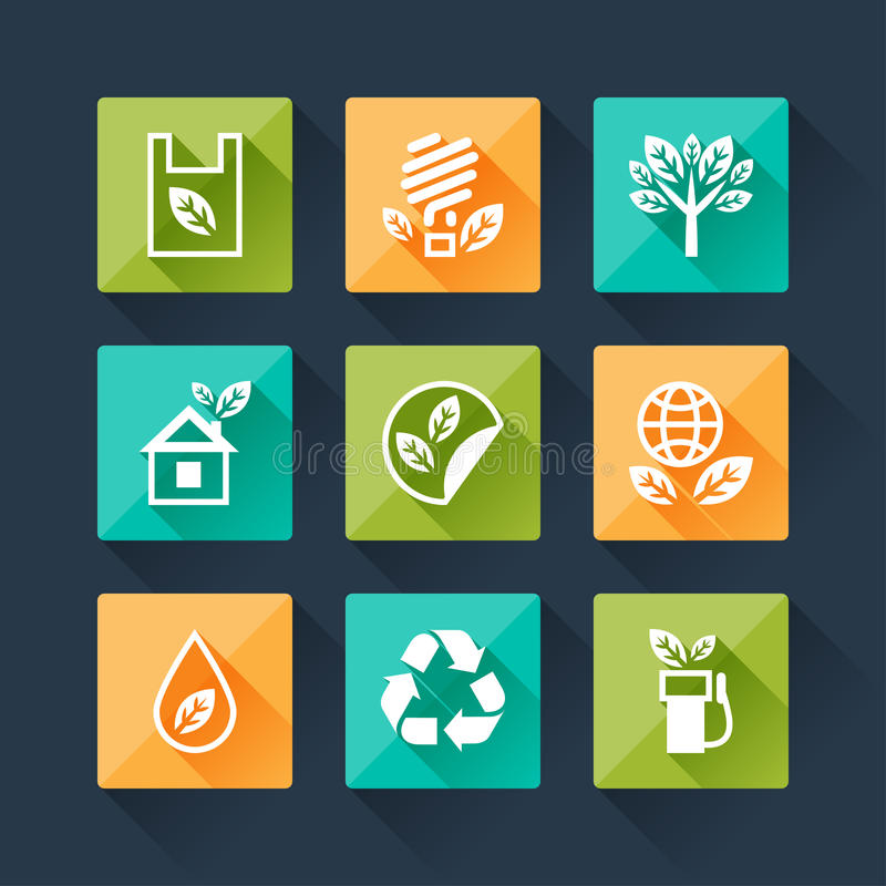 Set of eco icons in flat design style royalty free illustration