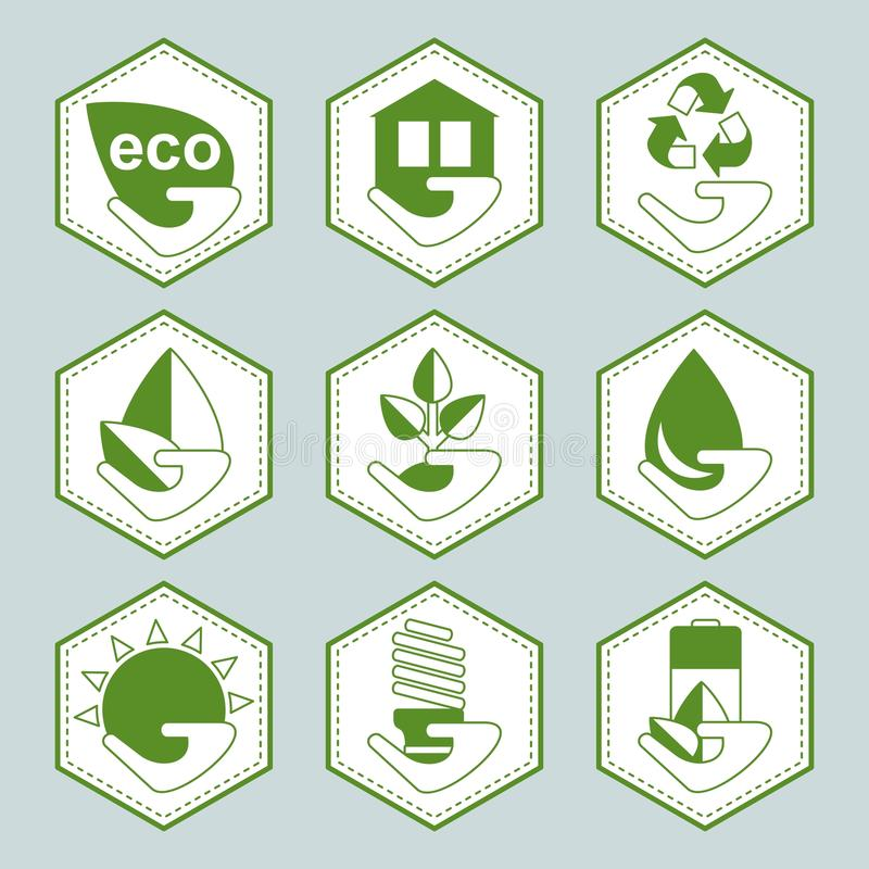 Set of eco icons. Set of recycle eco icons. Signs for sites, advertising brochures, flayers, posters and info graphics. Flat cartoon vector illustration. Objects stock illustration