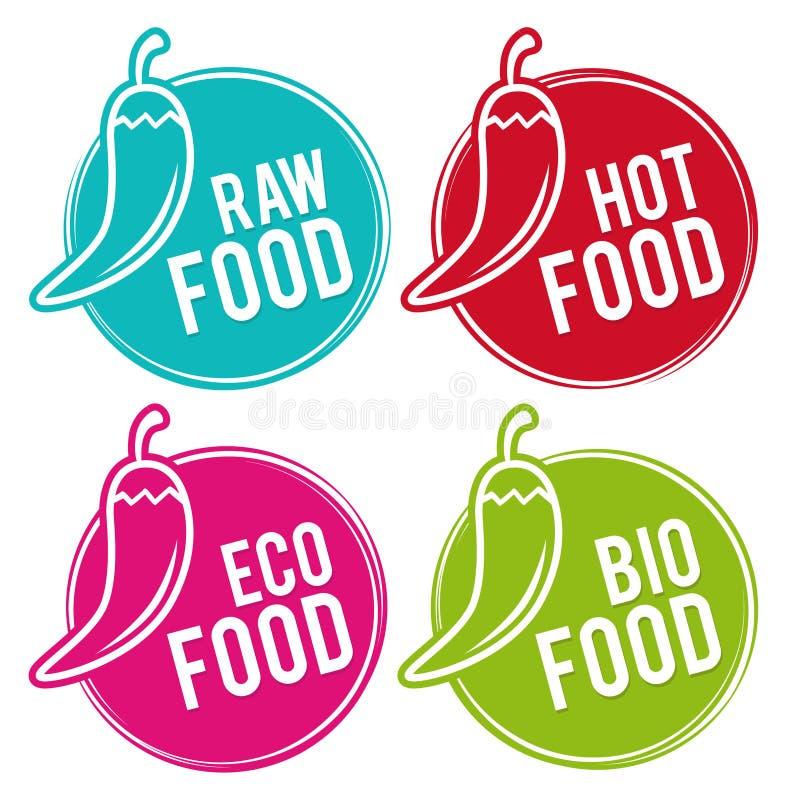 Set Eco jedzenia odznaki Surowy, Gorący, Eco i Życiorys jedzeniu, Wektorowa ręka rysujący znaki royalty ilustracja