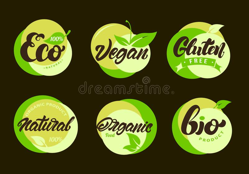 Set of Eco labels with lettering. Healthy, natural food stickers. Gluten free. Vector illustration design stock illustration