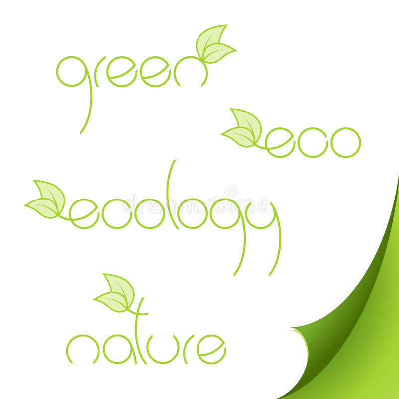 Download Set of eco logos on paper. stock vector. Image of element - 9509966
