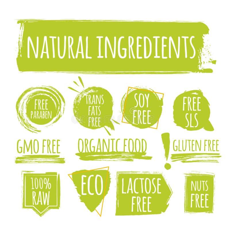 Set of eco natural ingredients label, round grunge logo, sticker for natural products packaging. Vector illustration for your design vector illustration