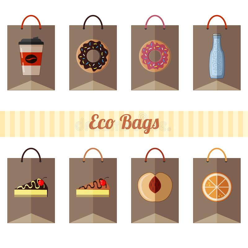 Set of eco paper bags with different products on white background royalty free illustration
