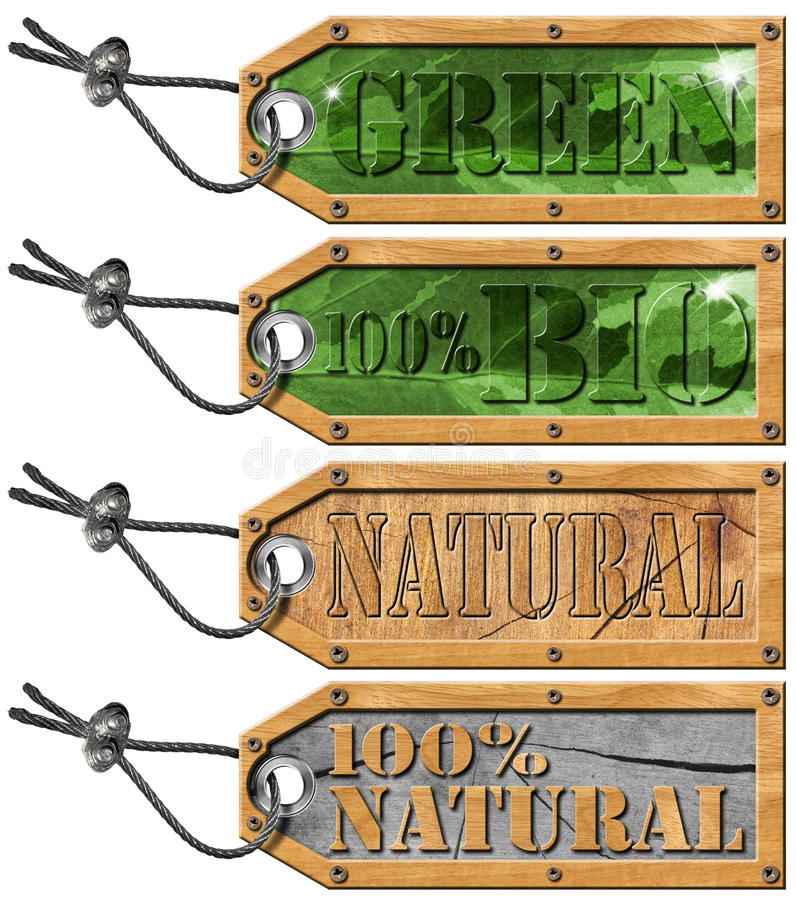 Set Eco Tags - Ecology Concept royalty free illustration