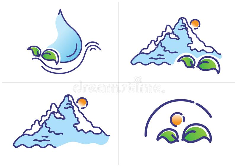 Set of Ecological Logo, line vector illustration of a drop of water, green leaves, mountain, sun, royalty free illustration