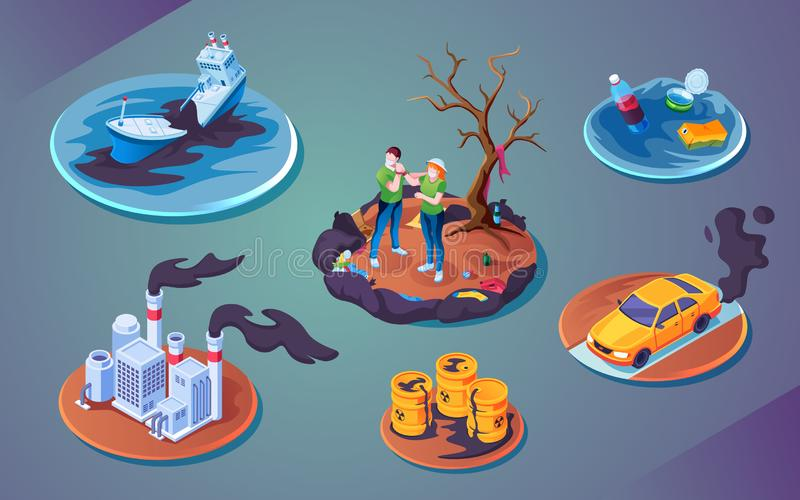 Set ecology catastrophe or pollution disaster. Set of isolated ecology catastrophe or pollution disaster, environment harm or accident contamination. Ship or vector illustration