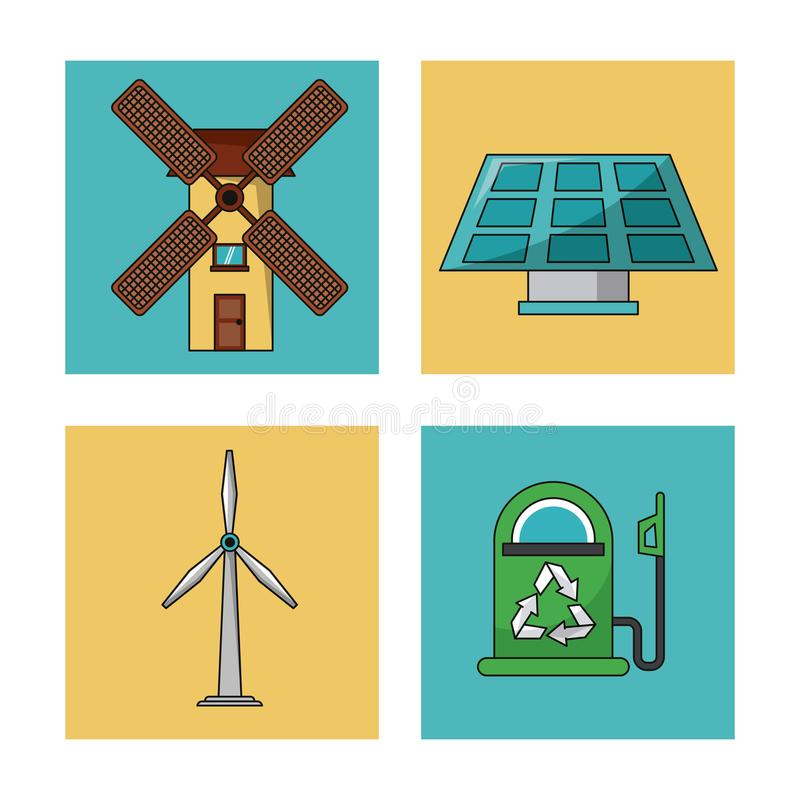 Set ecology environment recycle conservation nature icons. Vector illustration royalty free illustration
