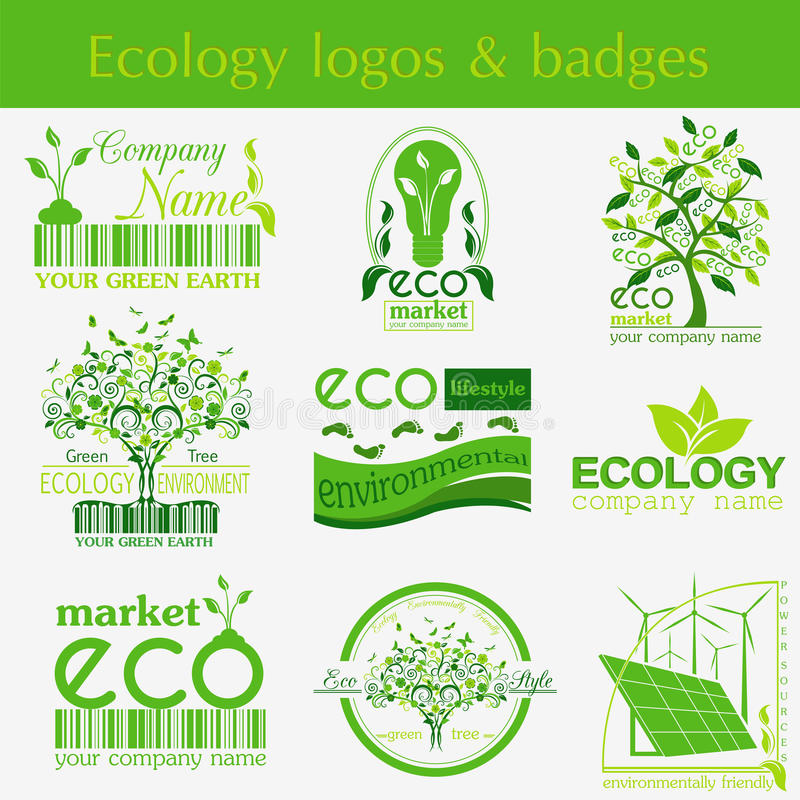 Set of ecology, environment and recycling logos. Vector logo templates. And badges royalty free illustration