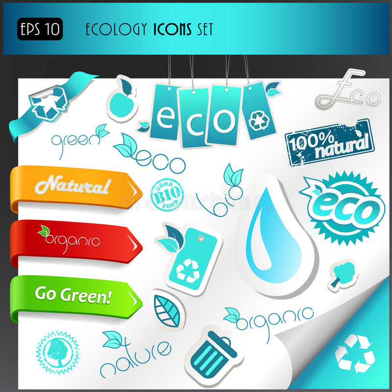 Download Set of ecology icons. stock vector. Image of computer - 18977589
