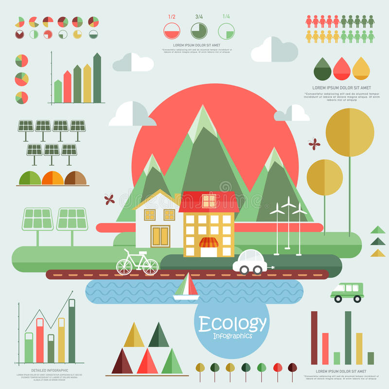 Set of ecology infographic elements. Set of ecology infographic elements with view of city and various statistical graphs and charts vector illustration