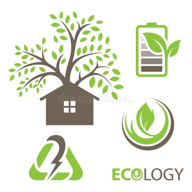 Set of ecology vector icons. Set includes- recycle icon, green house, leafs, tools, plug, eco battery icons. Modern minimalistic flat design. Vector green icon vector illustration