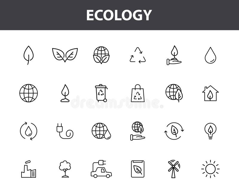 Set of 24 Ecology web icons in line style. Electric Car, Organic, environmental energy. Vector illustration stock illustration