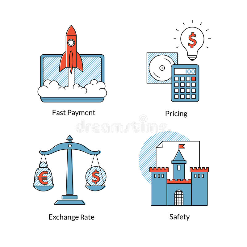 Set of Ecommerce line icons, fast payment, pricing, safety, rating. Set vector conceptual icons for of Ecommerce or online business. Fast payment, pricing royalty free illustration