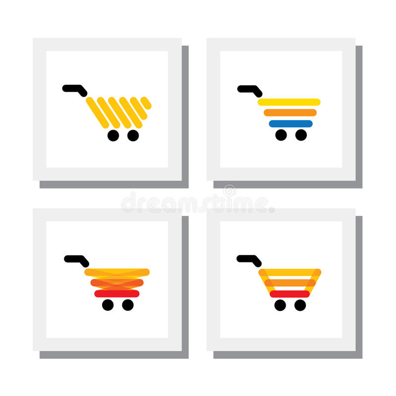Set of ecommerce shopping cart or trolley - vector icons vector illustration