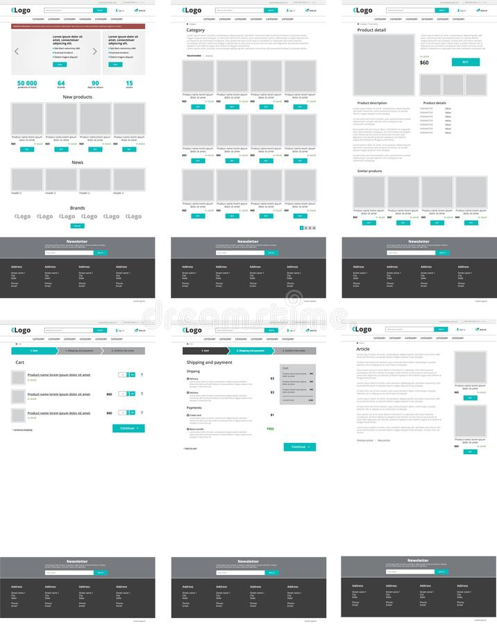 Set of ecommerce website templates. Homepage, category, product. Detail, shopping cart, article - modern vector flat design layouts royalty free illustration
